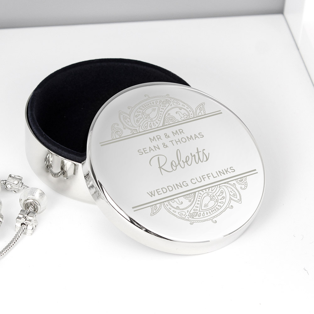 Paisley Wedding Round Trinket Box