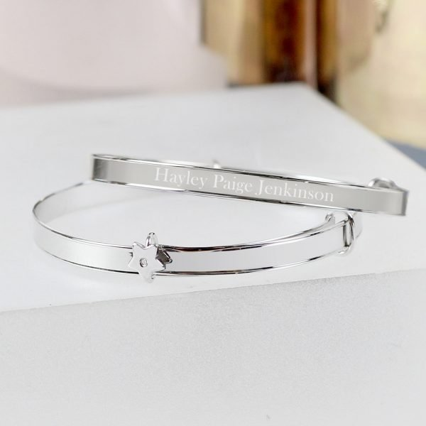 Sterling Silver Childs Expanding Diamante Star Bracelet