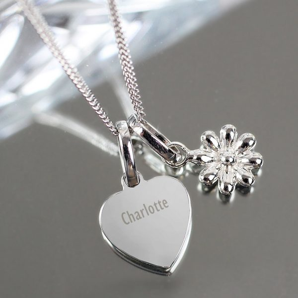 Heart and Daisy Sterling Silver Necklace