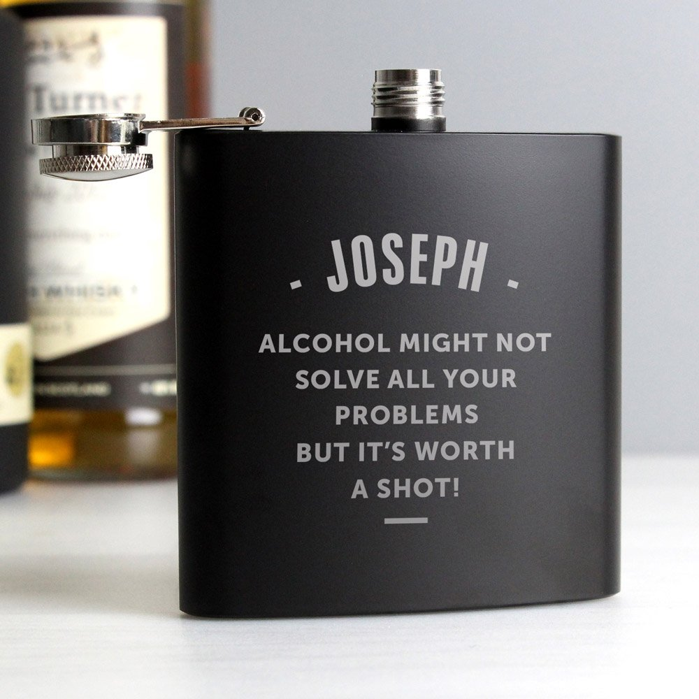 Any Message Black Hip Flask