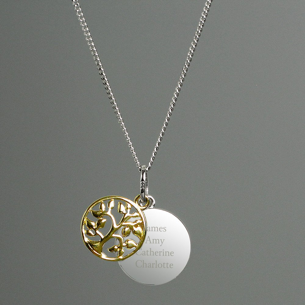 Sterling Silver & 9ct Gold Family Tree Necklace