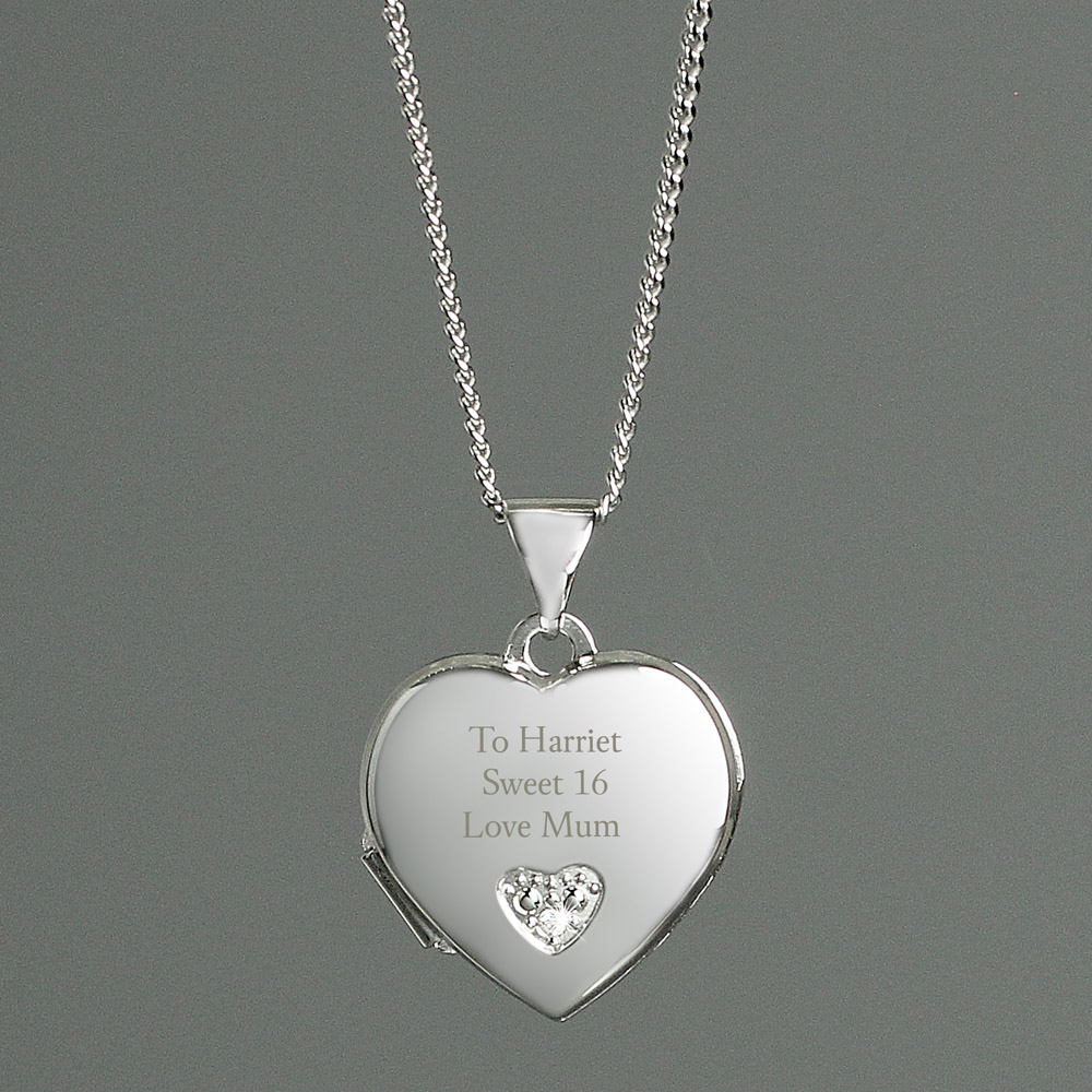 Children's Sterling Silver and Cubic Zirconia Heart Locket Necklace