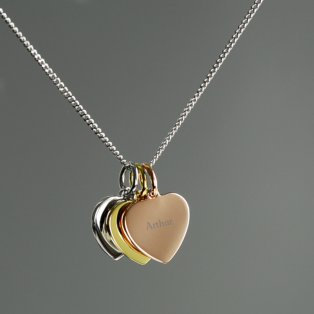 Gold, Rose Gold and Silver 3 Hearts Necklace