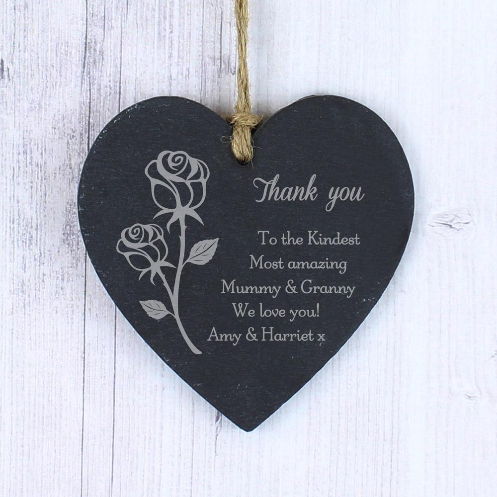Rose Small Slate Heart Decoration