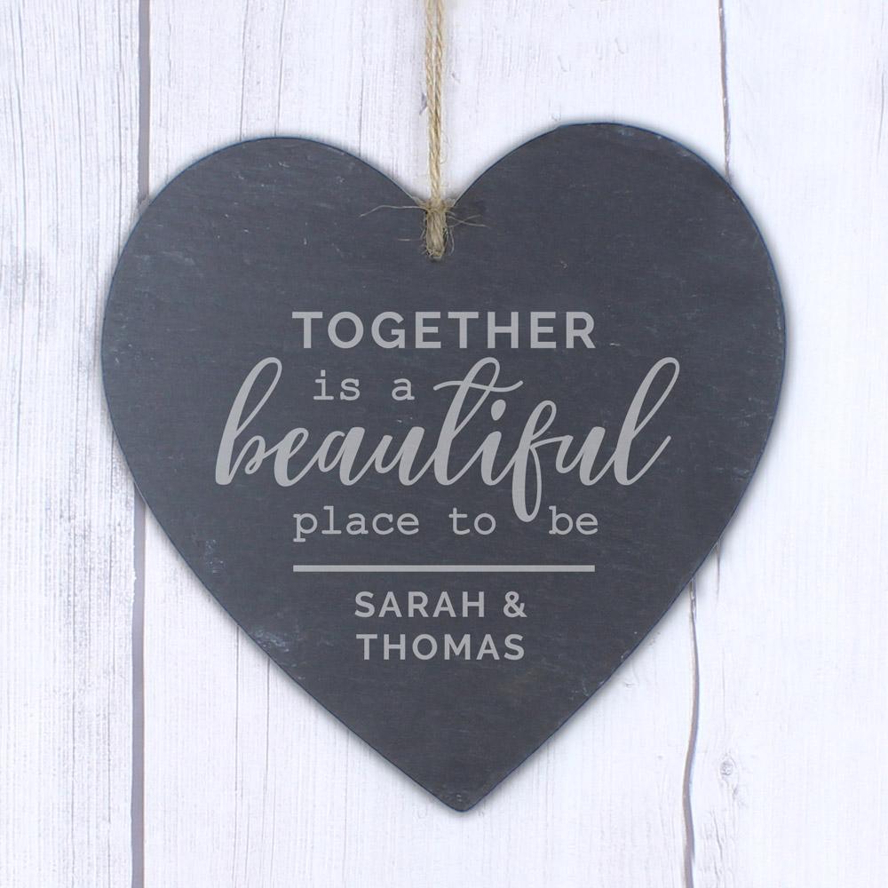 Together Large Slate Heart Decoration