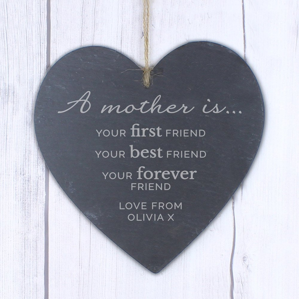 A Mother Is' Large Slate Heart Decoration