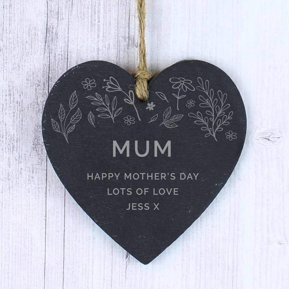 Floral Small Slate Heart Decoration