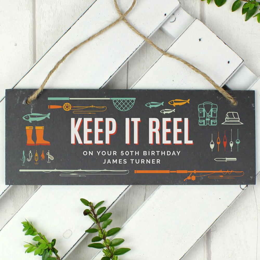 """""""""""Keep It Reel"""""""" Printed Hanging Slate Plaque"""