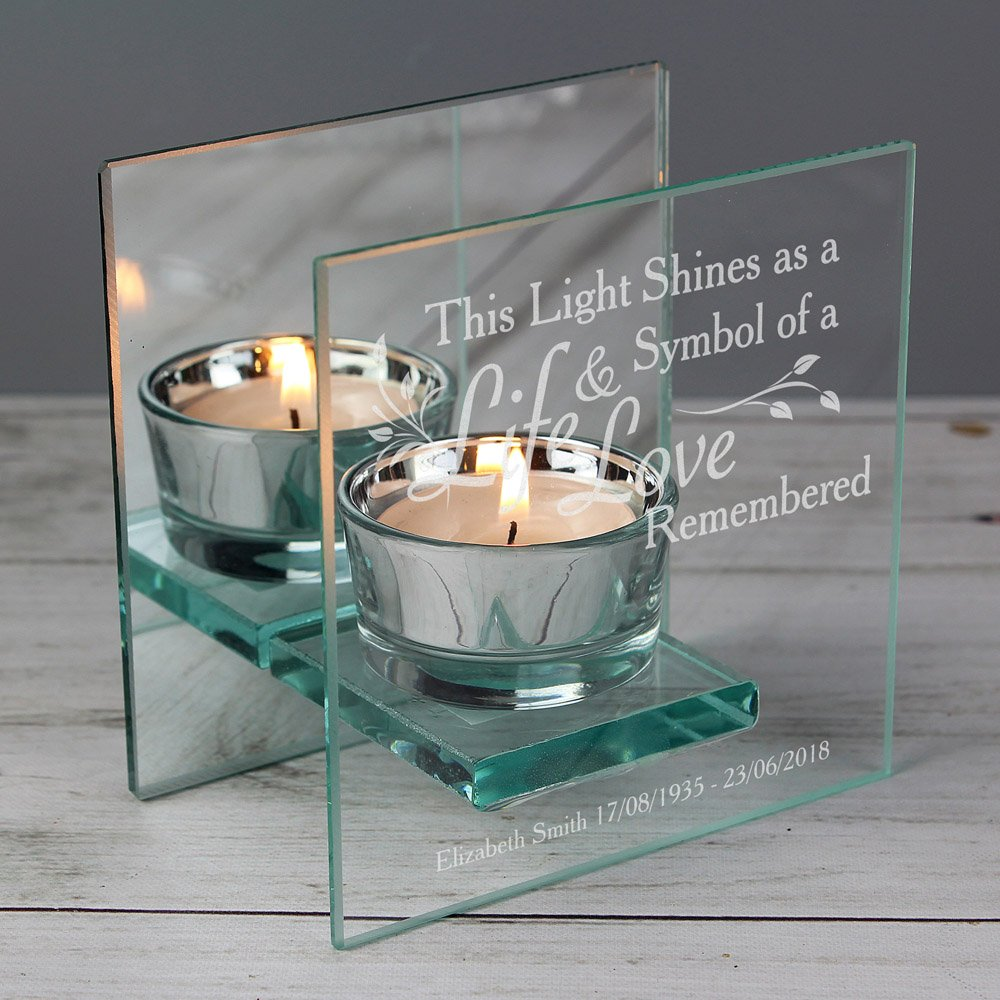 Life & Love Mirrored Glass Tea Light Candle Holder
