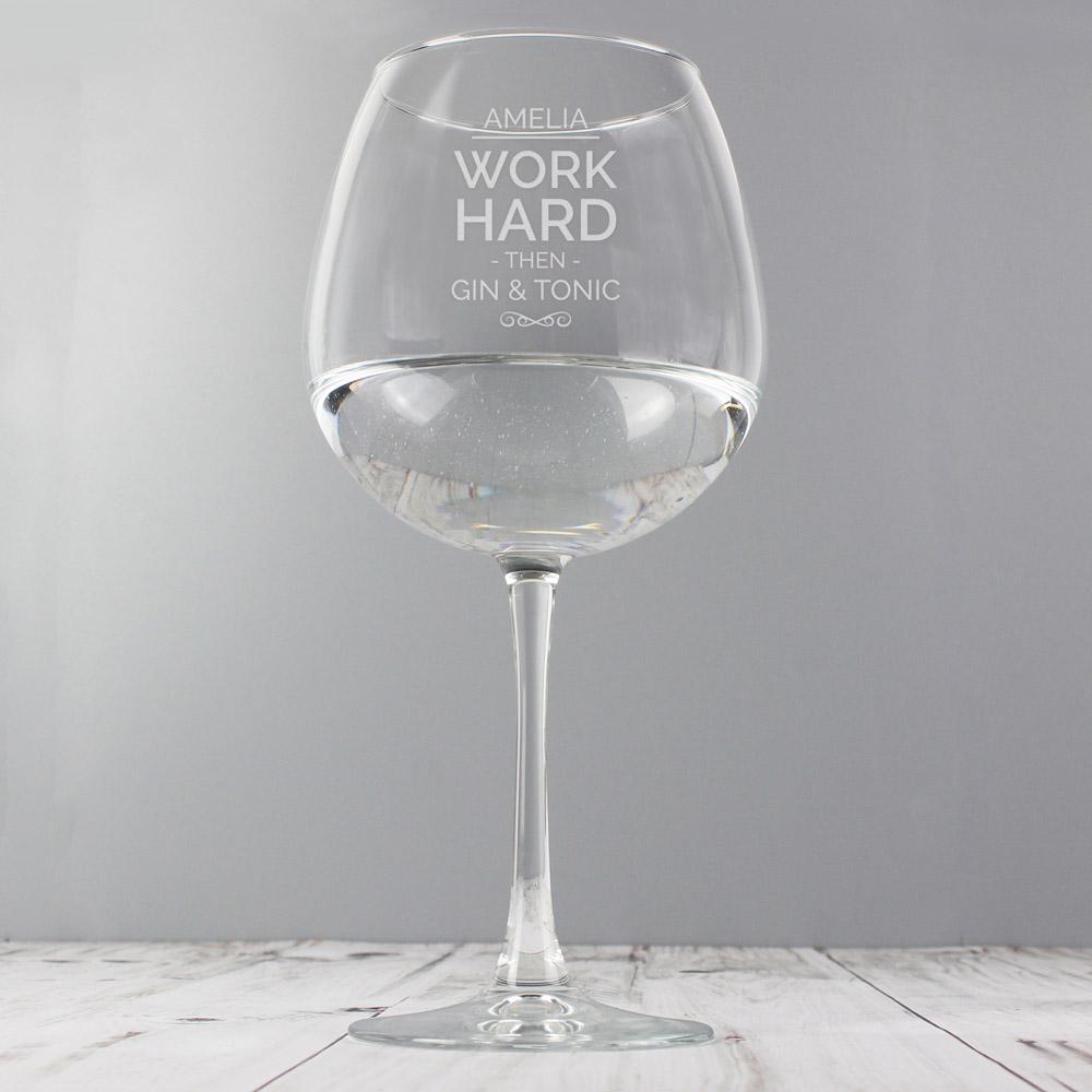 Work Hard Balloon Glass