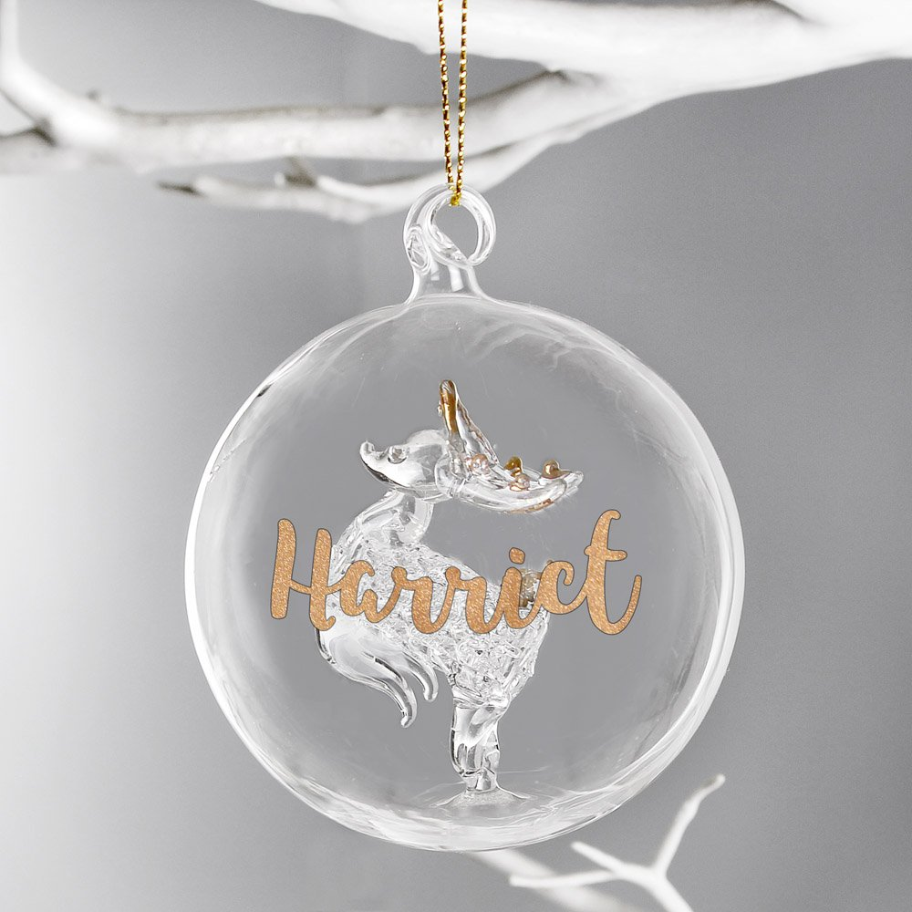Gold Glitter Name Only Reindeer Glass Bauble