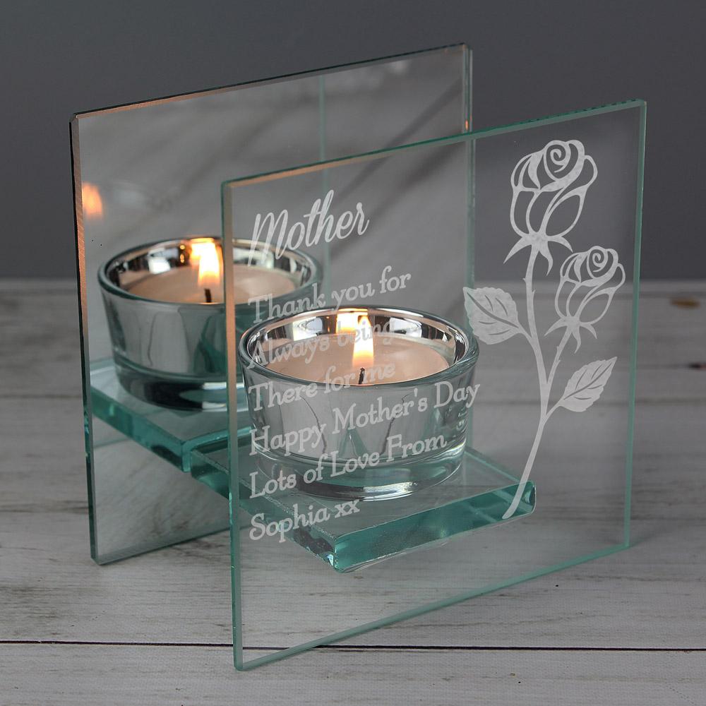 Rose Mirrored Glass Tea Light Holder