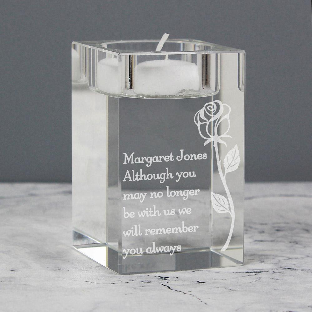 Rose Glass Tea Light Holder