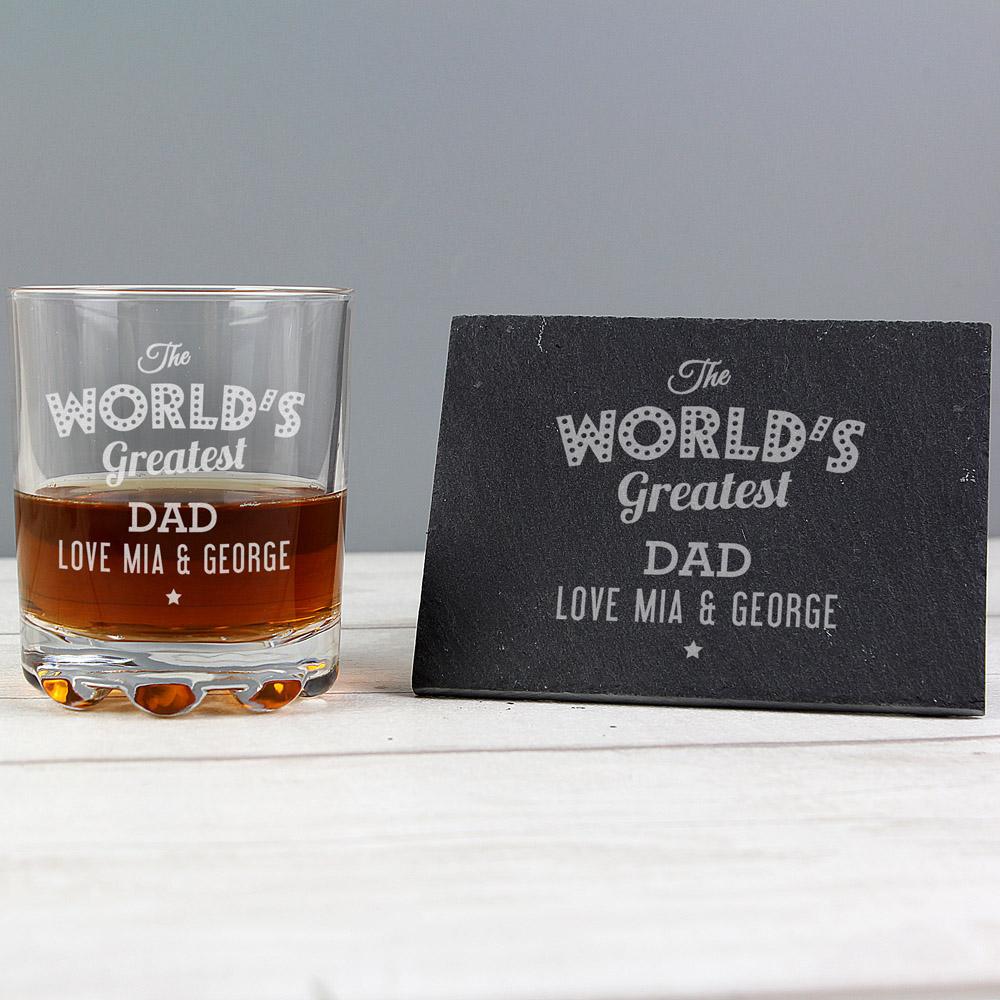 """""""""""The Worlds Greatest"""""""" Whisky Tumbler & Slate Coaster Set"""