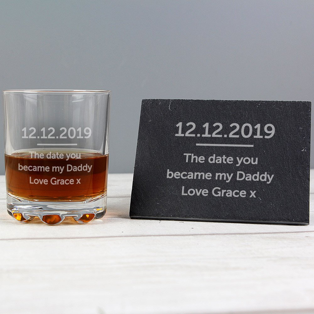 Whisky Tumbler & Slate Coaster Set