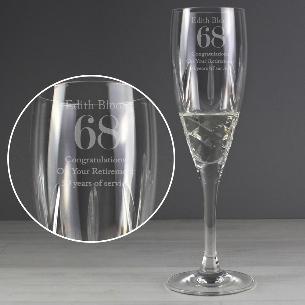 Big Age Cut Crystal Champagne Flute