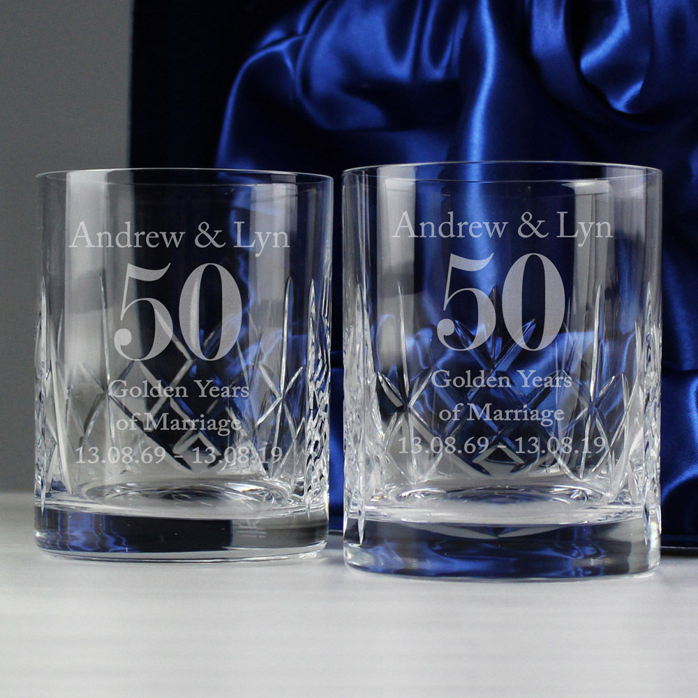 Anniversary Pair of Crystal Whisky Tumblers