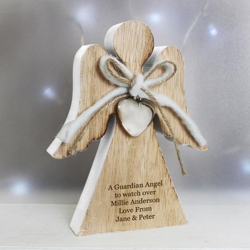 Rustic Wooden Angel Decoration
