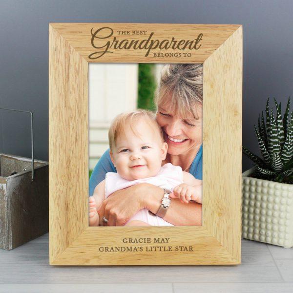 The Best Grandparent' 5x7 Wooden Photo Frame