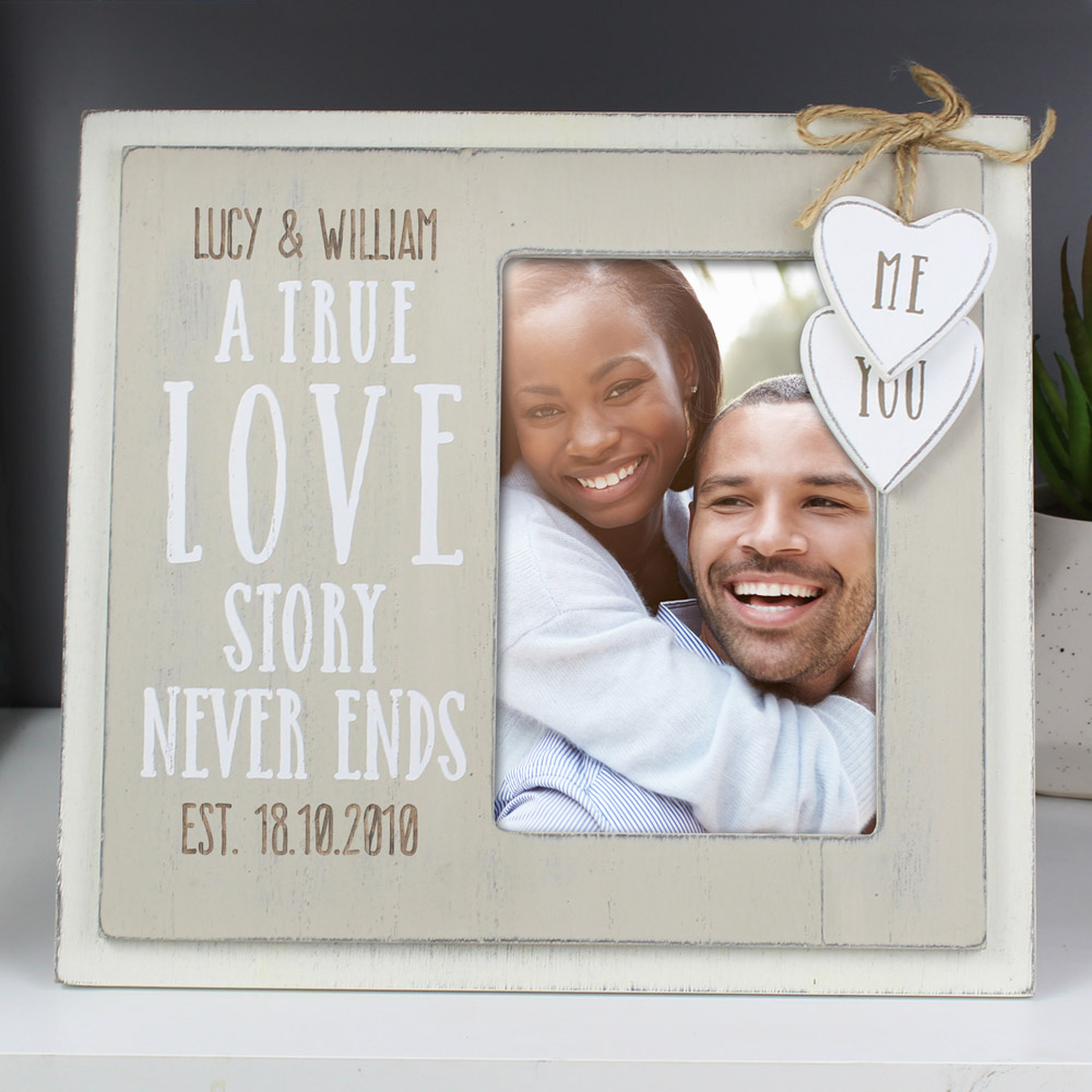 Love Story 6x4 Wooden Photo Frame
