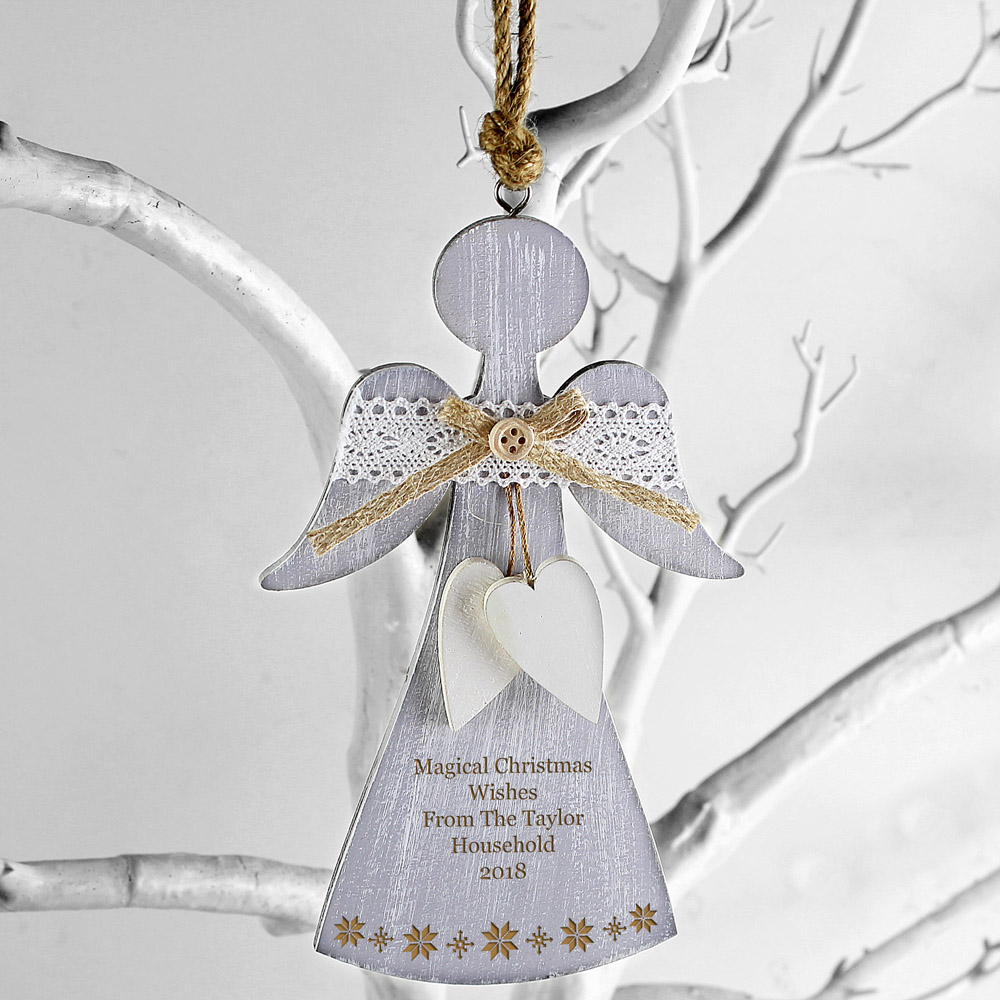 Snowflake Wooden Angel Decoration