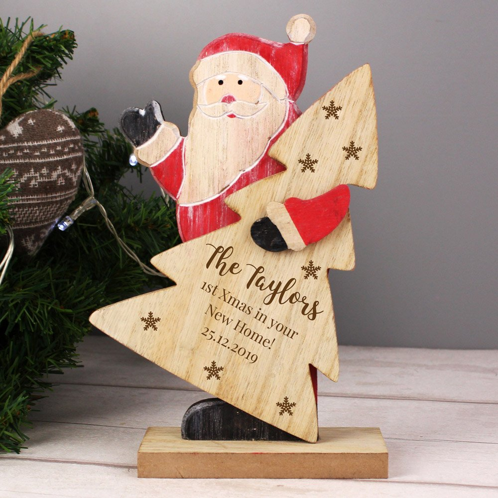 Snowflake Wooden Santa Decoration