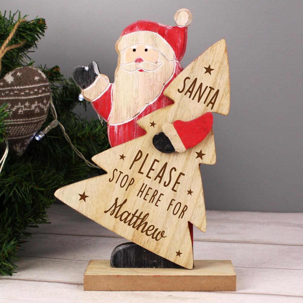 Santa Stop Here Wooden Santa Decoration
