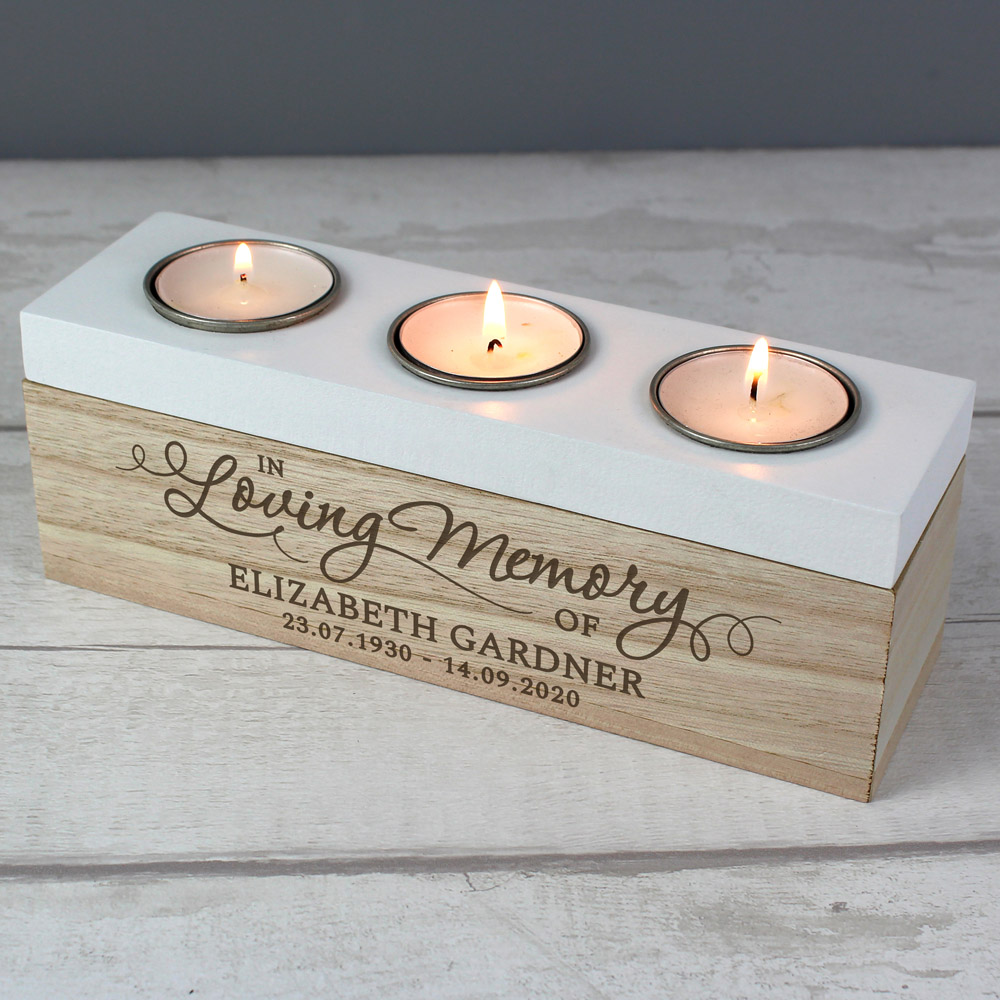 In Loving Memory Triple Tea Light Box