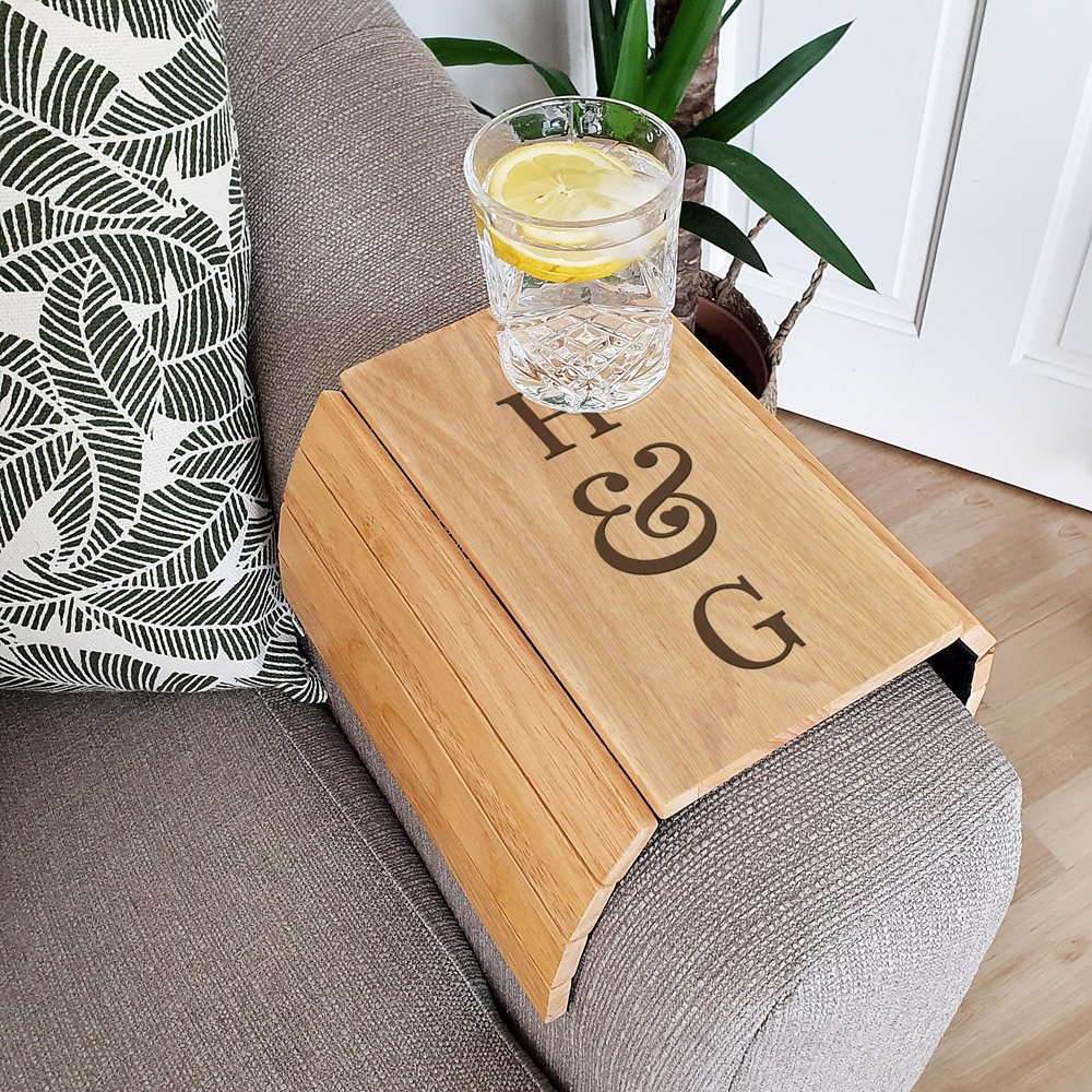 Initials Wooden Sofa Tray