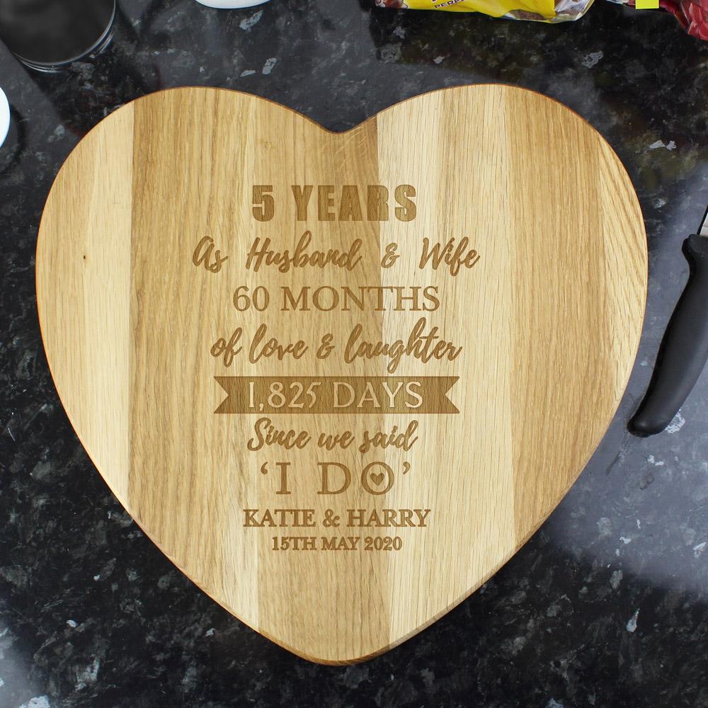 5th Anniversary Heart Chopping Board