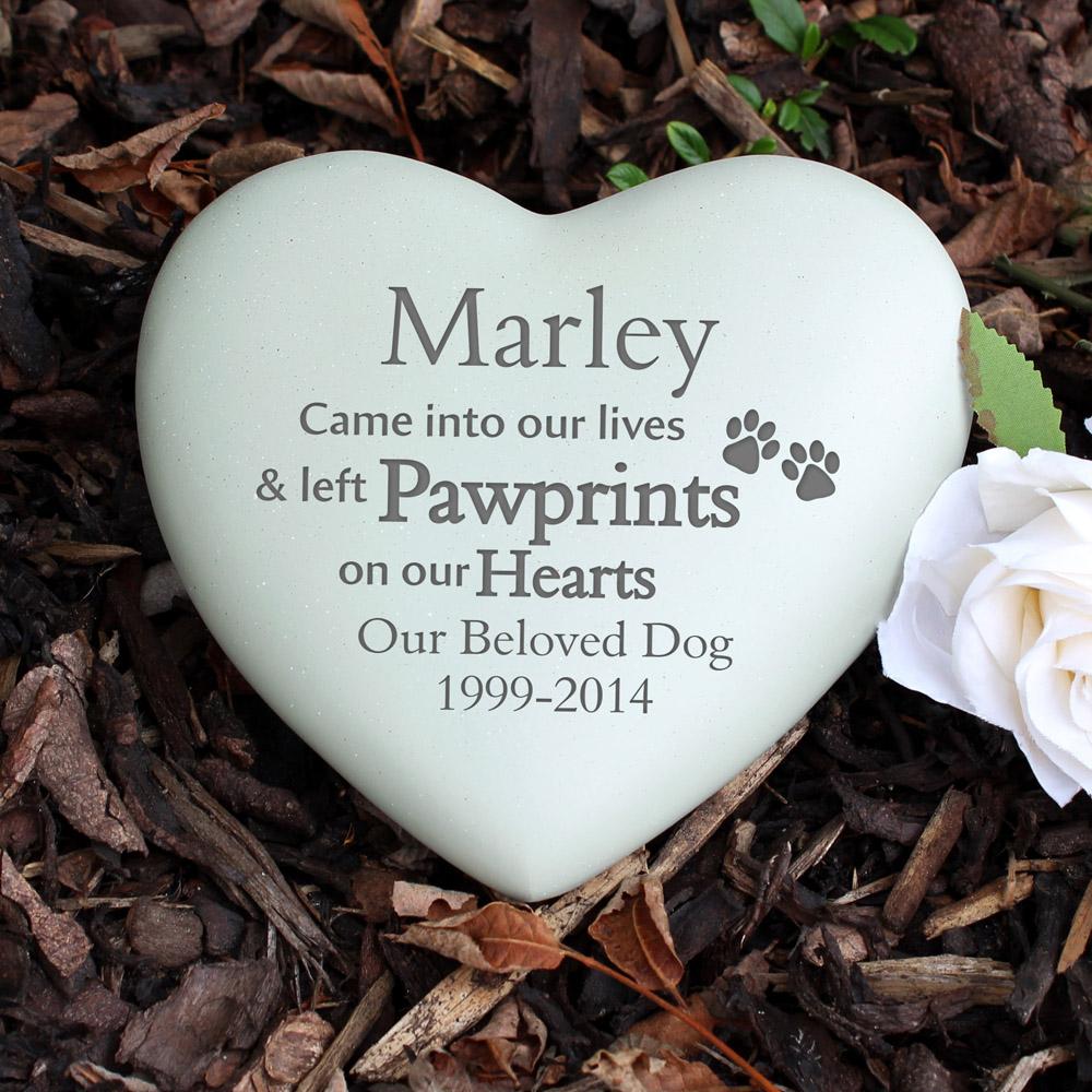 Pet Pawprints Heart Memorial