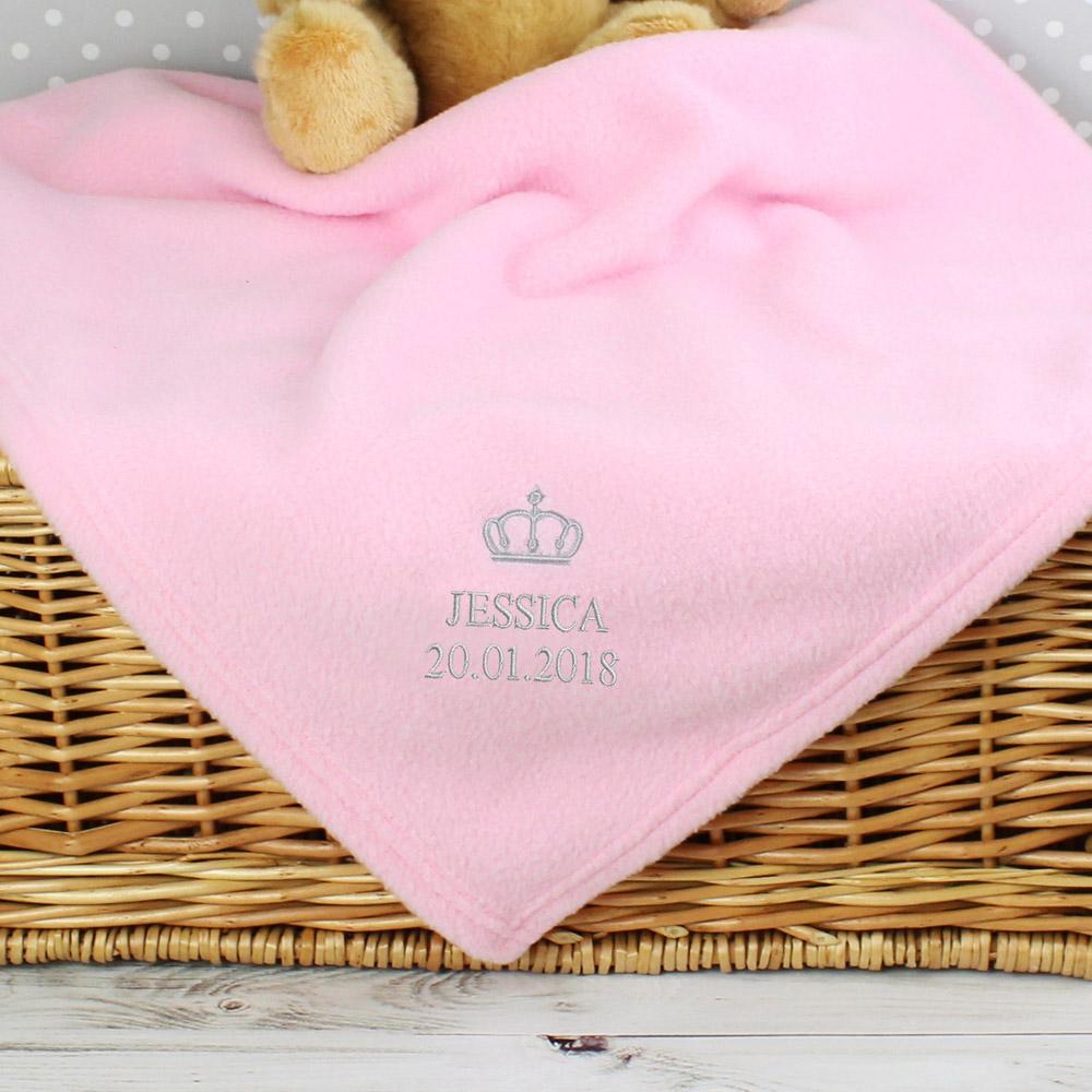 Pink Crown Baby Blanket