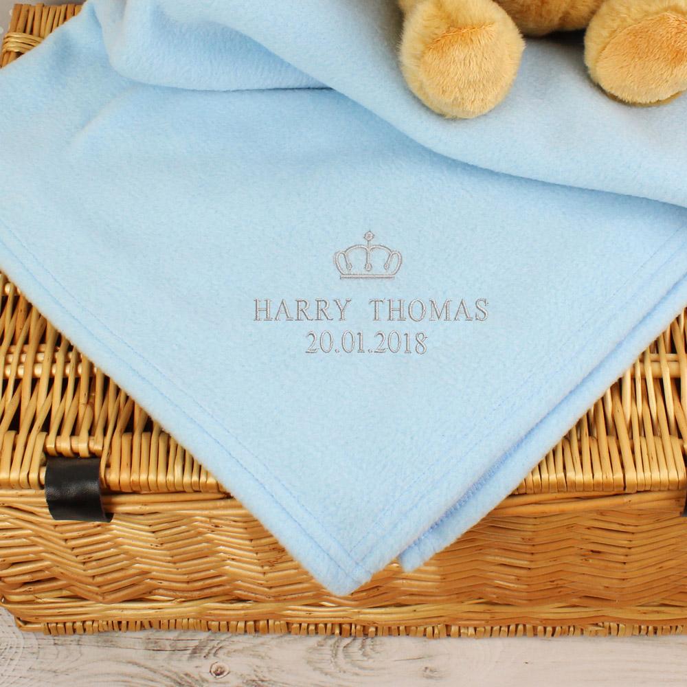 Blue Crown Baby Blanket
