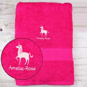 Unicorn Bright Pink Bath Towel