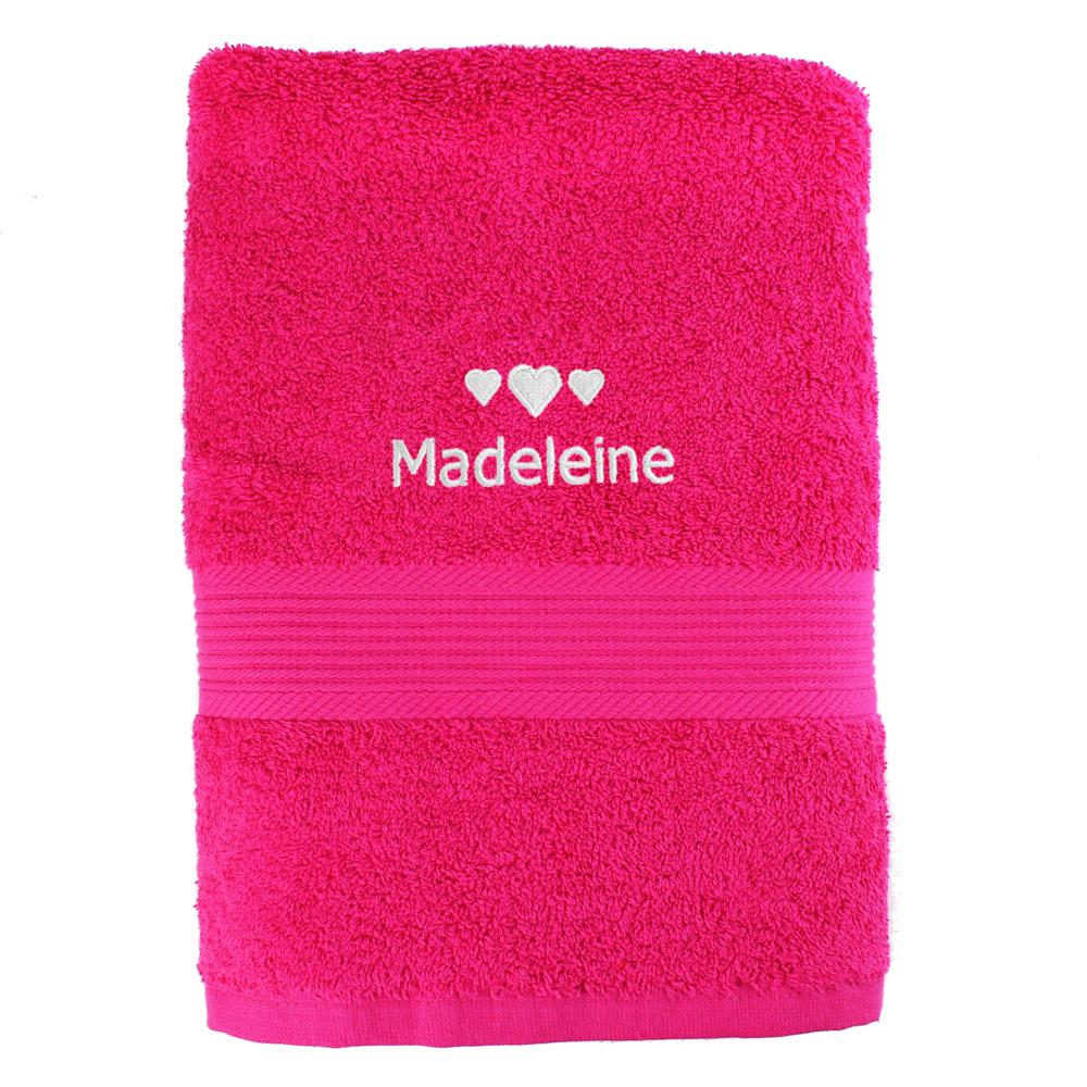 Hearts Bright Pink Bath Towel