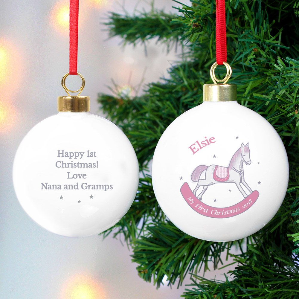 1st Christmas Pink Rocking Horse Bauble