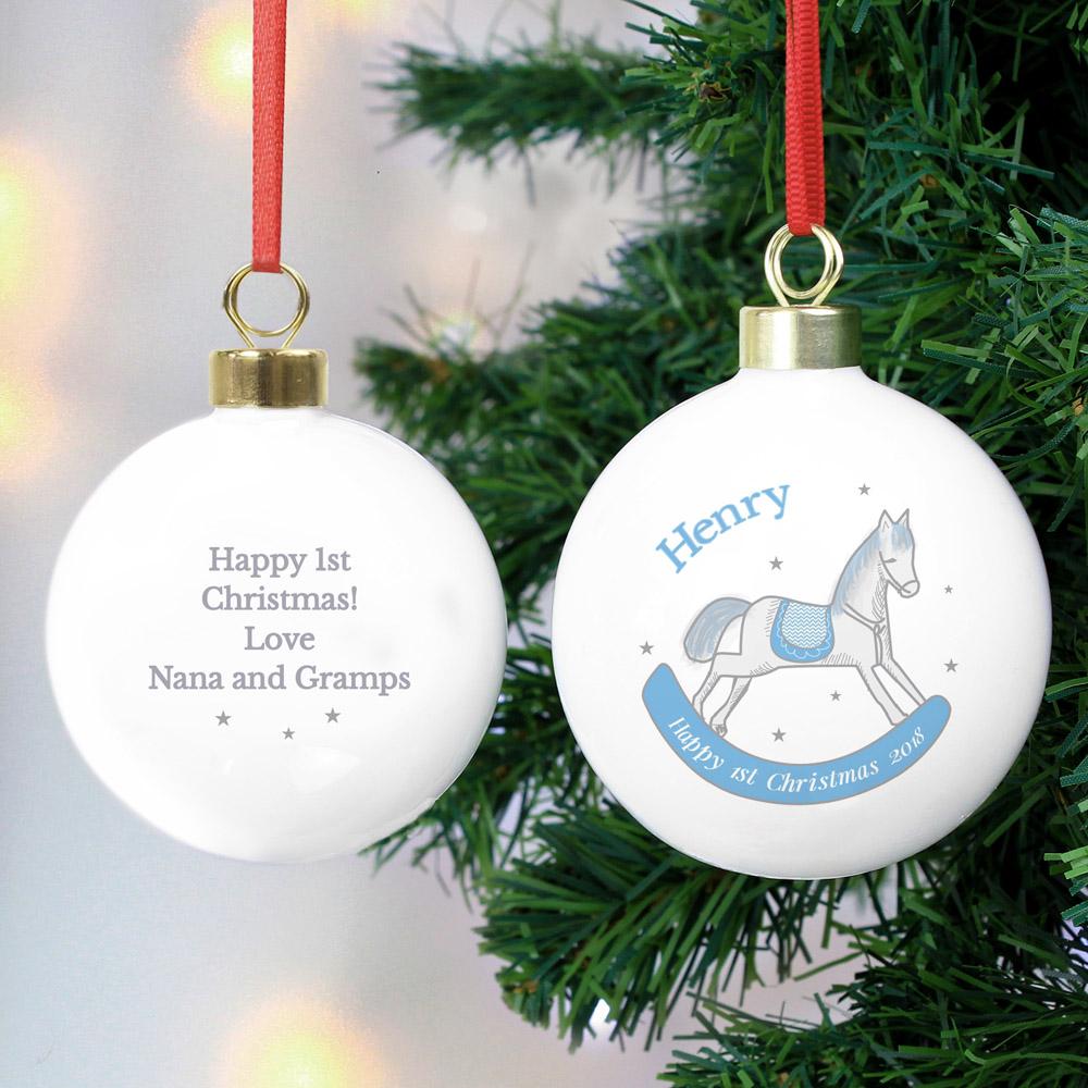 1st Christmas Blue Rocking Horse Bauble