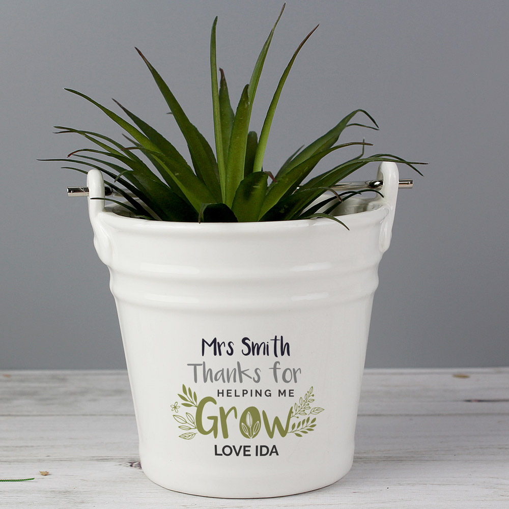 Thanks for Helping Me Grow' Porcelain Planter