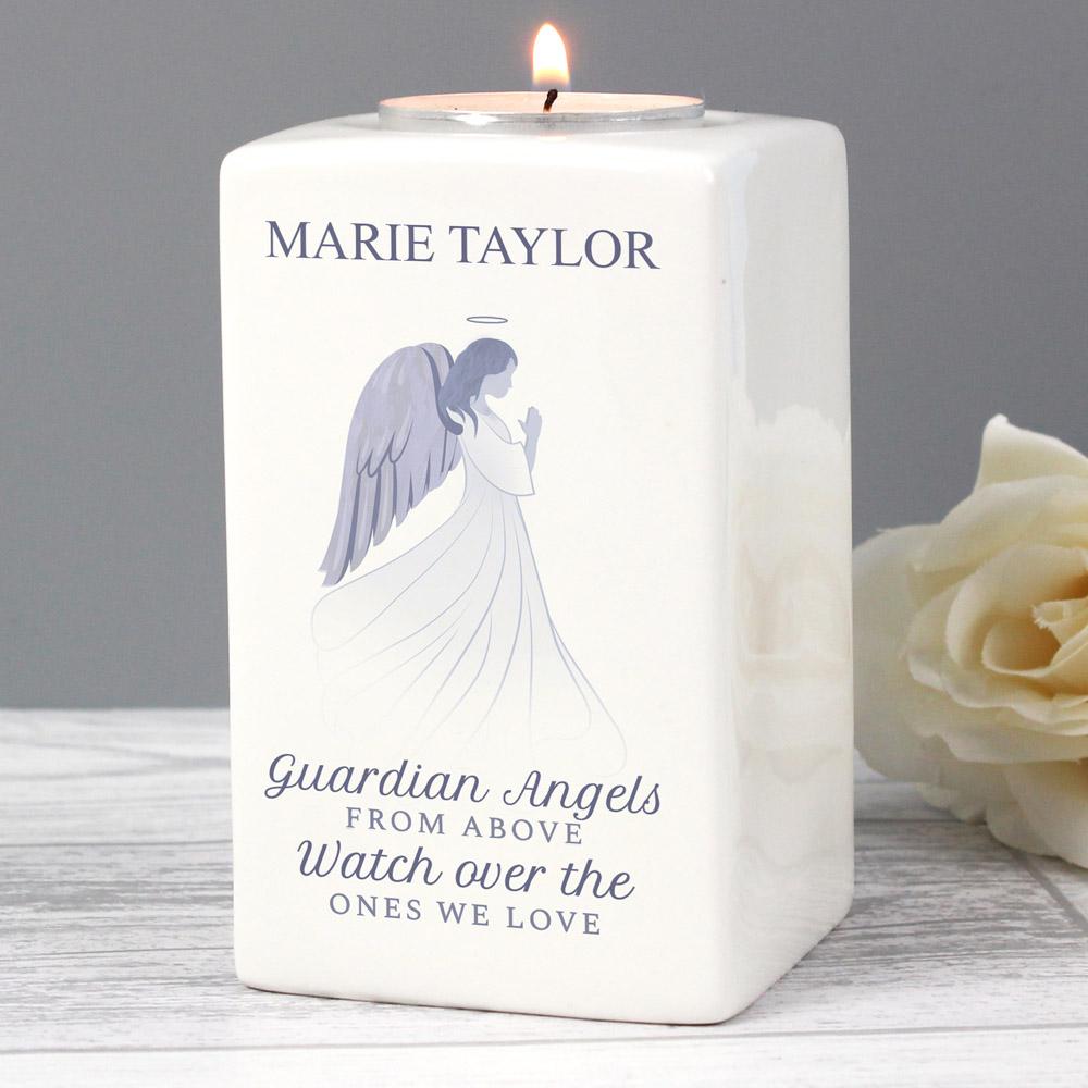 Guardian Angel Ceramic Tea Light Candle Holder