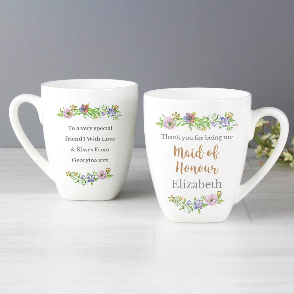 Maid of Honour 'Floral Watercolour Wedding' Latte Mug