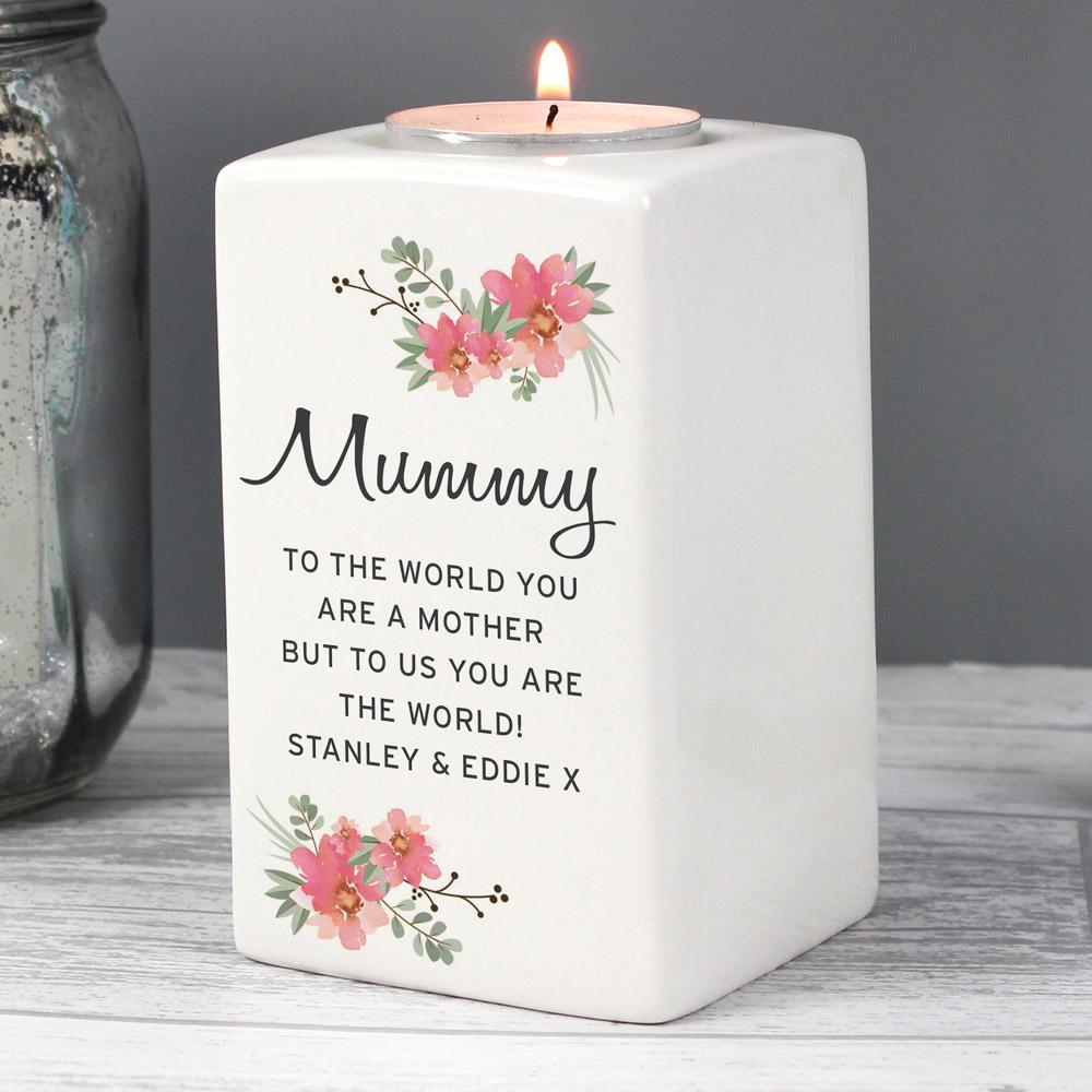 Floral Sentimental Ceramic Tea Light Candle Holder