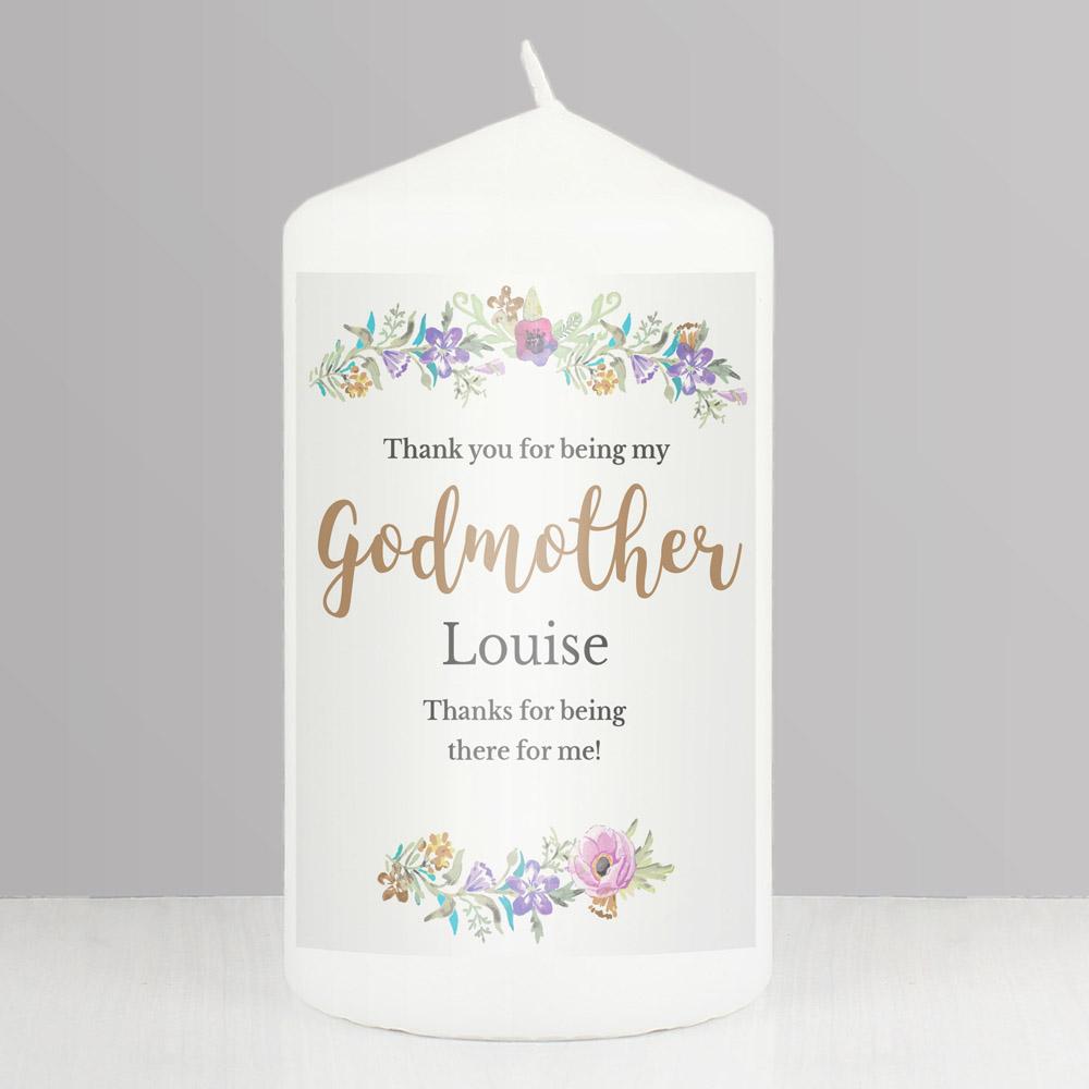 Godmother 'Floral Watercolour' Pillar Candle