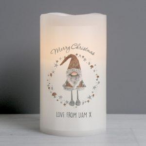 Scandinavian Christmas Gnome LED Candle
