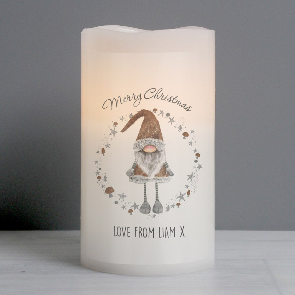 Scandinavian Christmas Gnome LED Candle