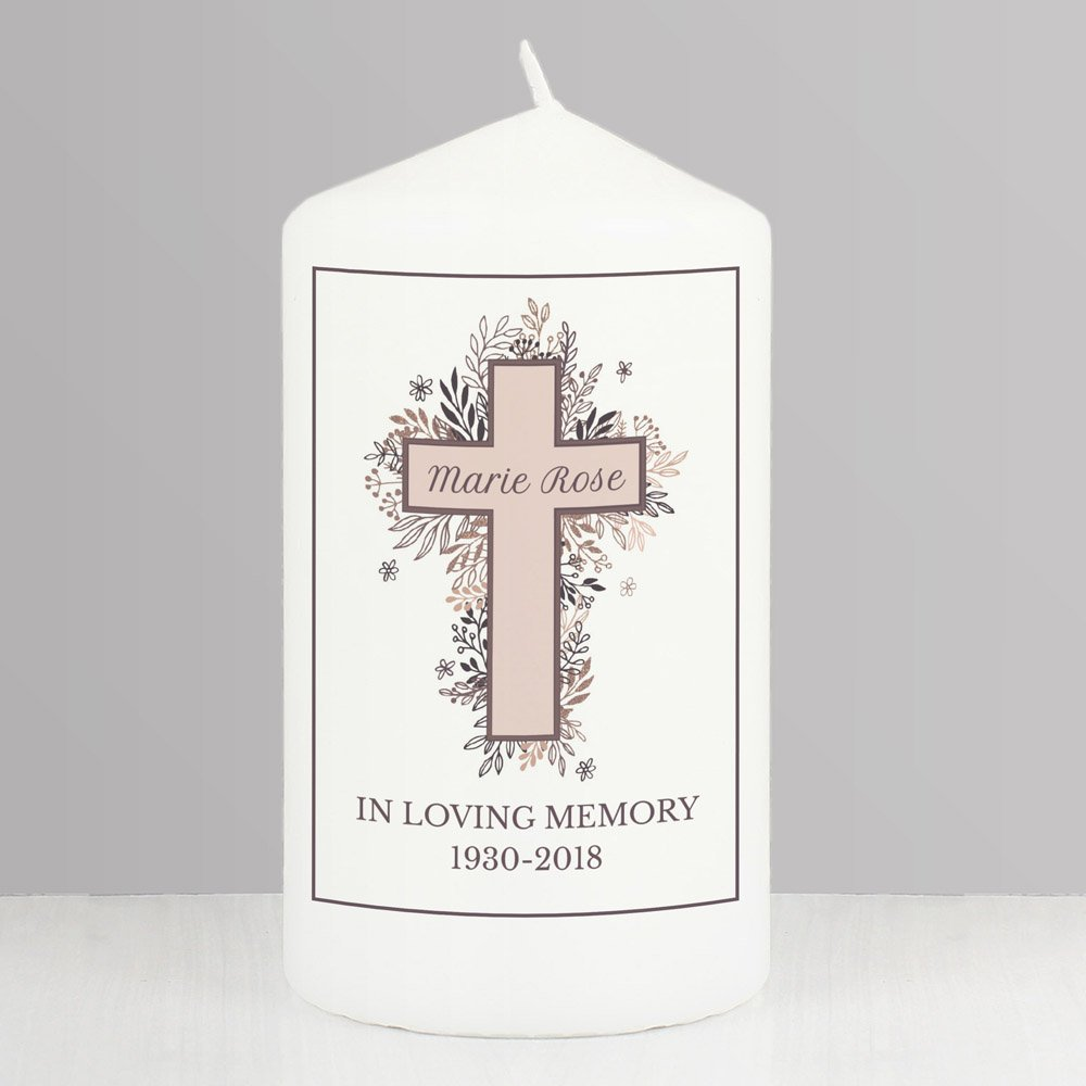 Floral Cross Pillar Candle
