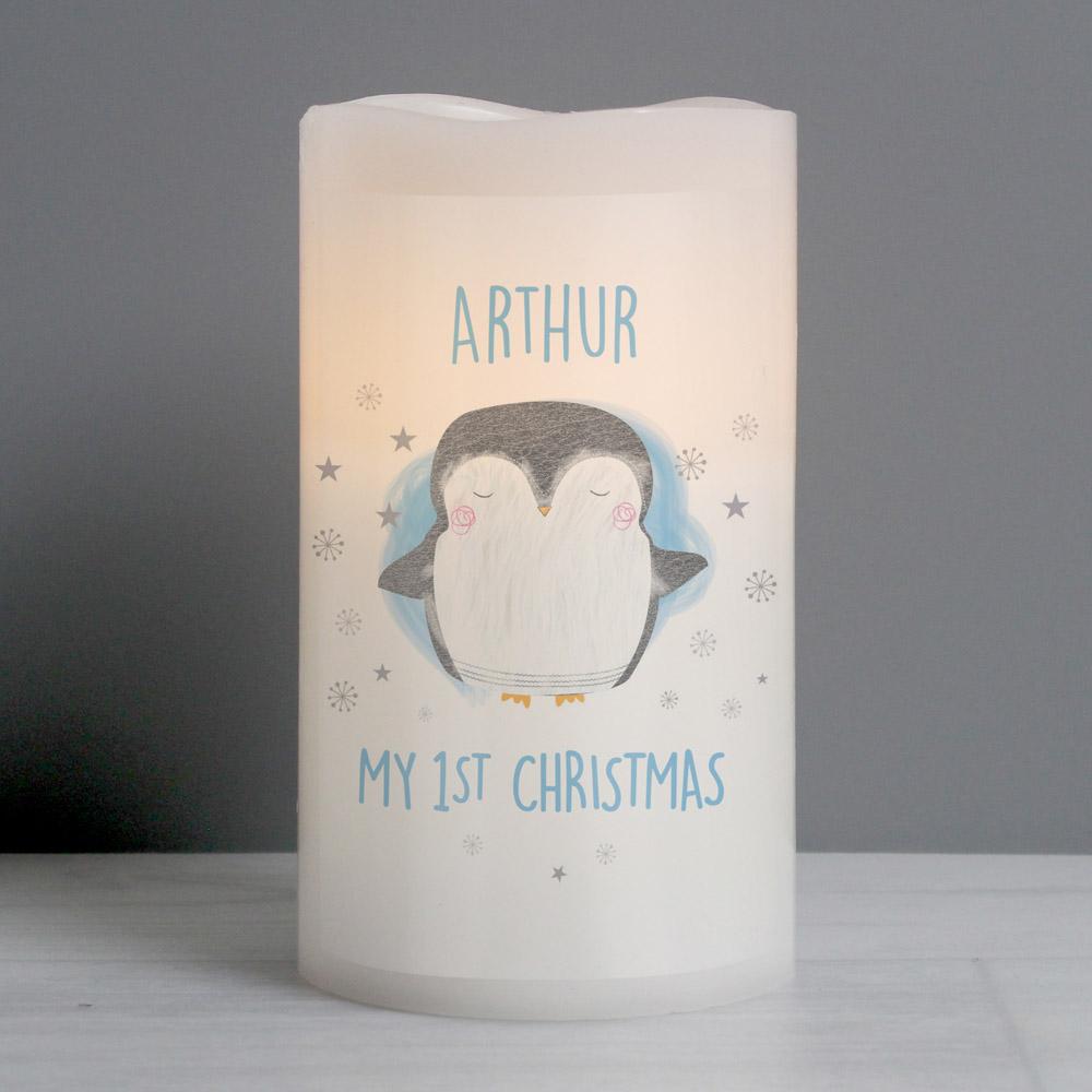 1st Christmas Penguin LED Candle