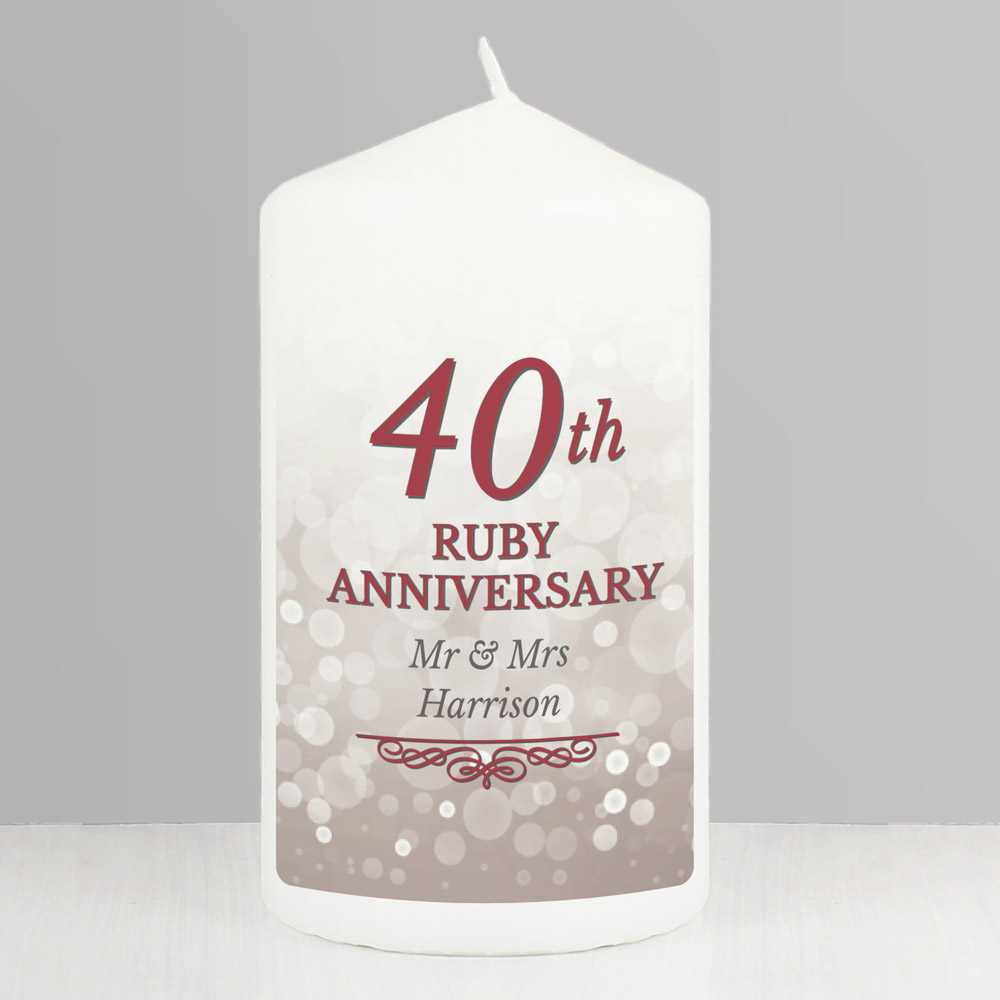 40th Ruby Anniversary Pillar Candle