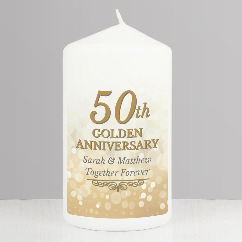 50th Golden Anniversary Pillar Candle