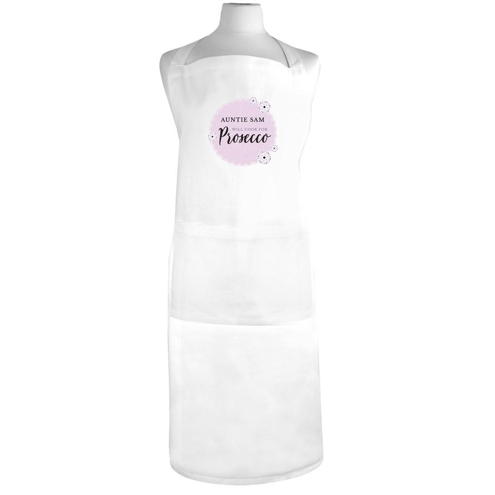 Lilac Lace 'Will Cook for Prosecco' White Apron