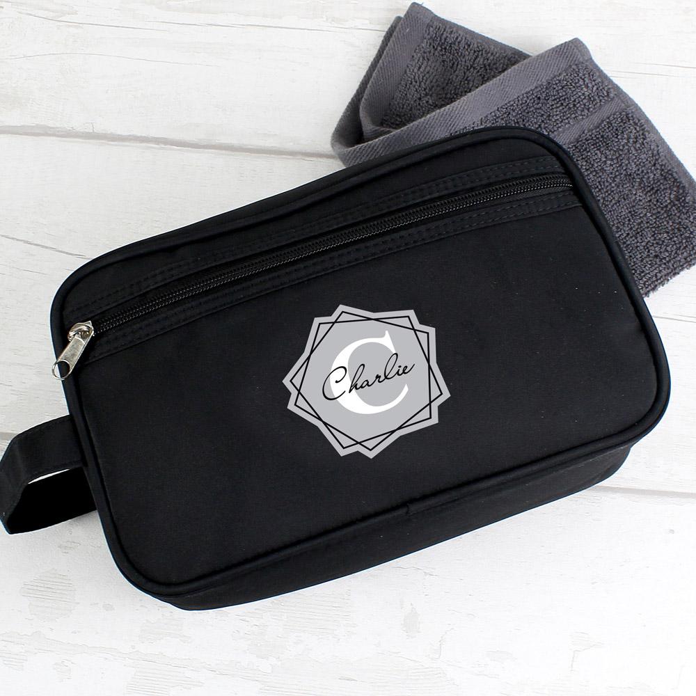 Geometric Initial Black Wash Bag